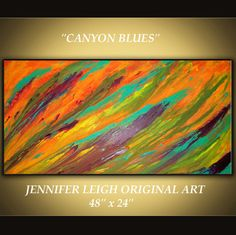 CANYON BLUES......Original Large Abstract Painting Modern Contemporary Original Canvas Art Purple Orange Blue Oil by J.LEIGH. $235.00, via Etsy.