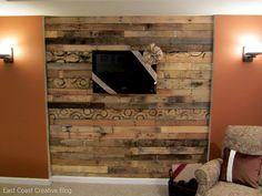 pallet wall just behind tv (dark gray wash)
