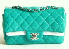 SPRING 12P CHANEL AQUA GREEN PATENT MINI CLASSIC BAG