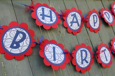 Are you having a fun baseball themed birthday party? Check out all the decrations in my shop that will help you throw a great party. This blue, red and white baseball themed birthday banner will be sure to add a special touch to your party. It is made from quality cardstock and is tied together w...