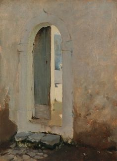 paintasyoulike:  John Singer Sargent  Open Doorway, Morocco, 1879-80, oil on wood, 13x10in  **click for zoom**