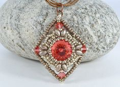 Red Diamond Shaped Beaded Pendant - Swarovski Rivoli Necklace - Statement Necklace - Vintage Style Jewelry - Valentine's Gift for Her