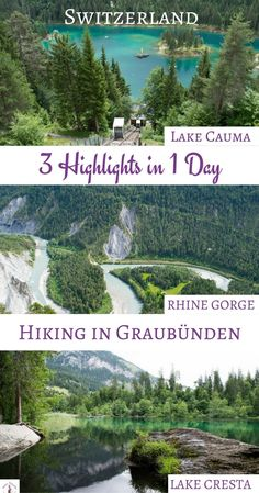 How to Spend a Perfect Day in Flims and hike in Graubünden where you´ll find Lake Cauma, Lake Cresta and Rhine Gorge. Switzerland. Most beautiful lakes in Switzerland.