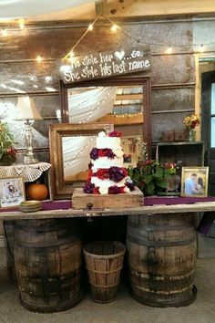 Rustic decor at a barn wedding party! See more party planning ideas at CatchMyParty.com!