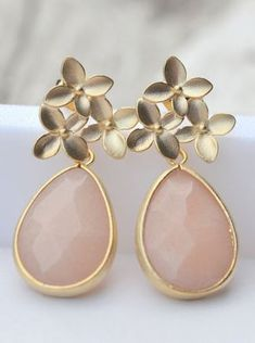 Pale Pink and brushed gold teardrop earrings