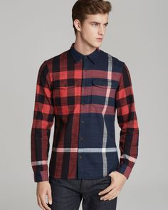 Burberry Brit Endell Check Sport Shirt Slim Fit in Multicolor for Men (Bright Regency Purple) | Lyst