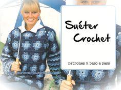 Crochet y Dos agujas: Suéter de grannys / Paso a paso con moldes y patro...