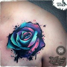 Purple blue water colour rose tattoo