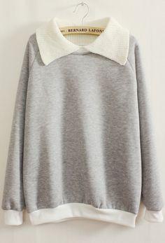 Sweat-shirts revers contrasté -gris 17.48