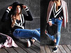 Sheinside Boyfriend Sweater, H&M Lace Top, Bershka Ripped Skinny Jeans, Mango Slippons, Stradivarius Black Fedora Hat, Sheinside Pale Pink Coat, H&M Suede Fringed Clutch