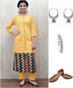 Make a statement with Zoyashi's Yellow Khadi kurta and it pair it up with Zoyashi's Silver Jewelry Collection!  #blastfromthepast #rockthislookwithzoyashi #BlackisBack #indianwear #kurta #khadi #Zoyashi #keepitsimple #LoveEthnic