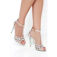 Blue by Betsey Johnson Ruby Silver Rhinestone Heels ($109) ❤ liked on Polyvore featuring shoes, silver high heel shoes, high heels stilettos, strappy shoes, silver strappy shoes and ankle strap shoes