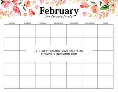 Calendar template - FREE Fully Editable 2020 Calendar Template in Word – Calendar template February Calendar, 2021 Calendar, Calendar Pages, Event Calendar, Calendar Calendar, Editable Monthly Calendar, Printable Calendar Template, Free Printables, Xmas