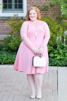 """Wearing Pink for the Fall Transition: featuring styles from UK plus size brand Yours Clothing, with tips for wearing any """"off-season"""" color this fall! #fallpastels #falloutfit #fallstyle #falltransition #fallfashion #yoursclothing #thisisyours #yoursclothinguk #plussizefashion #plussizeclothing #plussizeoutfit #pinkoutfit"""