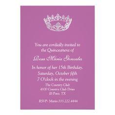 Pink Elegant Crown Quinceañera Invitation