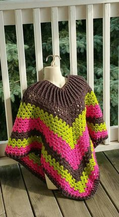 Hot Off My Hook! Project: Cowl-Neck Poncho Started: 10 Aug 2015  Completed: 14 Aug 2015 Model: Madge the Mannequin Crochet Hook(s): 7mm Yarn: I Love This Yarn Color(s): Graphite, Keylime, Hot Rose Pattern Source: Simply Crochet Magazine Issue No. 25 Pattern Designed By: Simone Francis Notes: This is my 17th Cowl-Neck Poncho!