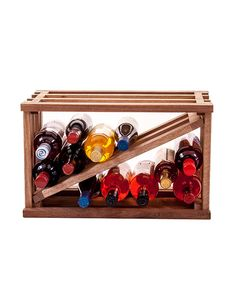 "Introducing WineRacks.com Exclusive Wine Stacks.   Stacks are 18 3/4"" wide x 12"" high and 12 3/8"" deep to fully support a wine bottle.  They are made of unfinished solid wood right in our New York factory. Put one on your counter or stack a few in a spare closet to make a mini-wine cellar.  This rack gives you the flexibility to store multiple sizes of bottles.  Inner divider is removable."