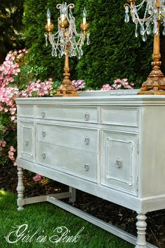 Buffet in French Linen Chalk Paint® Decorative Paint by Annie Sloan with a Pure White Wash sealed with Clear Wax - Makeover by Girl in Pink