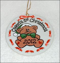 Teddy Bear Baby's First Ornament / Ceramic by SerendipityCrafts, $17.00