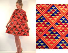Vintage 60s OP ART TENT DRESS Psychedelic Ascot MOD Space Age Geometric