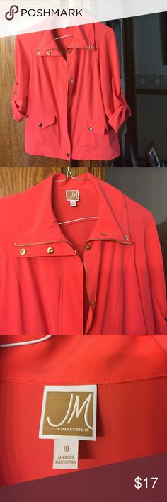 JM Macy's jacket 10 coral with gold snaps zipper This is a beautiful coral colored jacket. Size 10. 96% polyester 4% spandex for comfort and stretch lightweight three-quarter length sleeve. jM Jackets & Coats Blazers