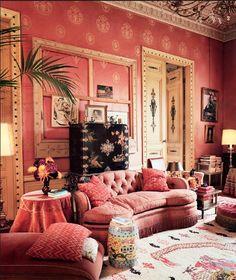 Dries Van Noten's home in the storybook city of Lier, Belgium. Pink Salon.