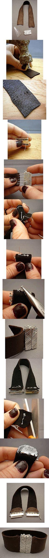 Cuff leather bracelet tutorial.