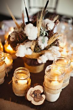Texas Hill Country Wedding: Cotton stalk, dried wheat, burlap, mason jars and candle light rustic-elegance Western Wedding Centerpieces, Fall Wedding Decorations, Party Decoration, Wedding Themes, Rustic Wedding, Wedding Ideas, Wedding Story, Elegant Wedding, Table Decorations