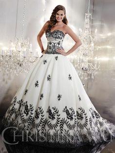black and white ballgown wedding dress by Christina Wu