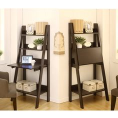 Make the best use of a small space with this two-in-one writing desk, which can also be used as a bookcase. The ladder-style design features a panel that folds down to create a desk or folds up to create a hidden storage compartment.