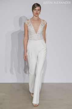 Look 8  |  88000  |  Crepe Jumpsuit with V-Neck Illusion Lace Bodice