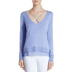 Halston Heritage Chiffon-Inset Sweater (9.365 UYU) ❤ liked on Polyvore featuring tops, sweaters, iris, blue sweater, halston heritage sweater, halston heritage top, blue top and halston heritage