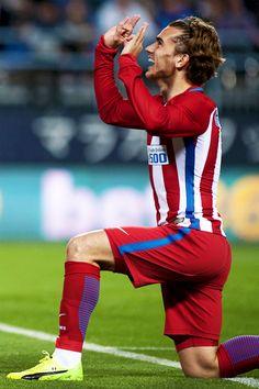 "liomessis: ""Atletico Madrid's French forward Antoine Griezmann celebrates a goal during the Spanish league football match Malaga CF vs Club Atletico de Madrid at La Rosaleda stadium in Malaga on April 1, 2017. """