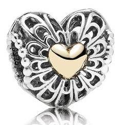 Pandora Charm Herz Silber mit Gold Limited Edition 791275