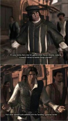 LOL Ezio This is the moment I knew I'd love Ezio. Not necessarily as an assassin (that took a while), but as a character. Assassin's Creed, Assassins Creed Memes, Gaming Memes, Funny Pictures, Funny Pics, Funny Memes, Hilarious, Persona, Humor