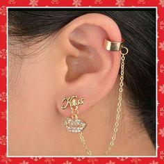 *GOLDTONE 'KISS' CRYSTAL EARRING CUFF A cute goldtone earring cuff with crystal dangle lips. Jewelry Earrings