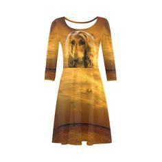 Dog Afghan Hound 3/4 Sleeve Sundress. Material: 92% Polyester, 8% Spandex, well made lightweight soft fabric, skin-friendly. Sizes: XS, S, M, L, XL, XXL, XXXL.FREE Shipping. #beoriginalstore #dresses