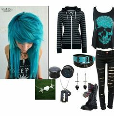 High school/ college emo style (ive always wanted to dye my hairl like this)