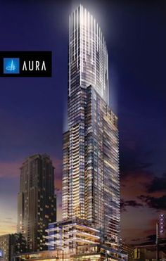#Aura, a 78-storey Landmark, Canada's tallest residential condominium, and #Toronto's most desirable address!    Only one unit available in this highly demanded Sold-Out Toronto Real Estate Project!  South-West facing 23-rd floor, two bedroom+den, parking and locker included.  Exceptional split-wing layout, even the Den has windows.  Master bedroom overlooks the balcony, 2nd bedroom with direct access to semi-ensuite. This Aura suite is offered for only $699,000