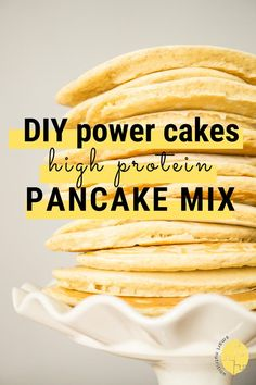 Keep this high protein pancake mix (Power Cakes copycat) on hand and youll only be a couple steps away from a filling nourishing breakfast! Can be made with water milk and with or without eggs! High Protein Recipes, Healthy Crockpot Recipes, Delicious Recipes, Waffle Recipes, Snack Recipes, Easy Recipes, Recipes Dinner, Smart Nutrition, High Protein Breakfast