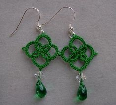 Emerald Green Tatted earrings lace jewelry by TattingByWendy, $12.00