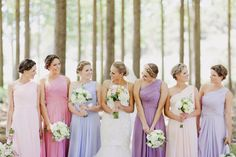 Bridesmaids all in the same dress just different colours- colour scheme to match flowers??