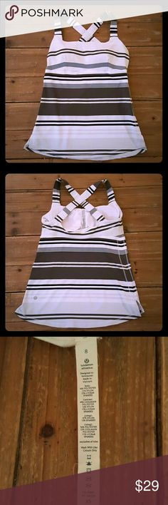 Lululemon Cross Strap Striped Tank Size 8 Lululemon Cross Strap Tank Size 8, built in bra, Black, gray and white striped. lululemon athletica Tops Tank Tops