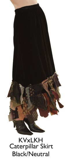 interesting skirt with 'extensions' from interesting recycled fabrics