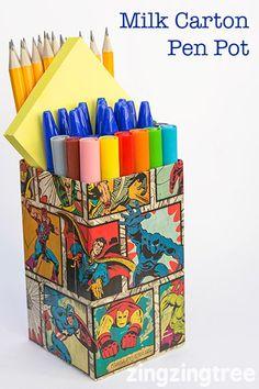 Milk Carton Craft - Upcycle Milk Cartos (tetra packs) into cool funky Pen Pots: Tetra Pak, Diy Craft Projects, Diy Crafts For Kids, Book Crafts, Paper Crafts, Milk Carton Crafts, Milk Box, Recycled Crafts, Clever Diy