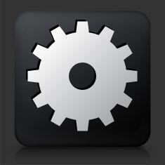 Black Square Button with Gear Icon vector art illustration