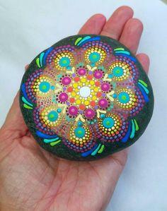Colorful Mandala Design Painted Rocks Painted Stone by Miranda