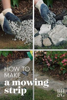 How to Make a Mowing Strip to Save Time in the Garden - A mowing strip is a paved strip between grass and beds or borders means you can mow your lawn without the worry of damaging plants or trimming afterward. Lawn Edging, Garden Edging, Lawn And Garden, Garden Shop, Garden Table, Vegetable Garden, Outdoor Landscaping, Front Yard Landscaping, Outdoor Gardens