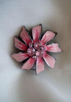 Vintage Pink Enamel & Rhinestone Brooch by RepurposedTreasure, $11.00    ....SOLD