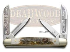HEN & ROOSTER AND Gold Leaf Deer Stag Medium Congress Stainless Pocket Knife Knives